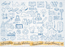 Business doodles Sketch set : infographics elements isolated Stock Photos