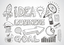 Business doodles Sketch set : infographics elements isolated, Royalty Free Stock Photos