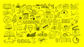 Business doodles Sketch set : infographics elements isolated Stock Images