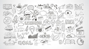 Business doodles Sketch set : infographics elements ,. Vector shapes. It include lots of icons included graphs, stats, devices,laptops, clouds, concepts and so Stock Photos