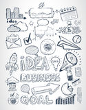 Business doodles Sketch set : infographics elements , Royalty Free Stock Photo