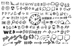 Business doodles sketch handrawn ink. Business doodles sketch vector line Stock Photography