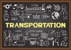 Business doodles about transportation on chalkboard. Stock Images