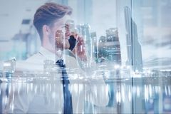 Business double exposure background, businessman calling by phone. In modern city Royalty Free Stock Photos