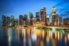 Business downtown and city landscape of Singapore at twilight sc Royalty Free Stock Photos