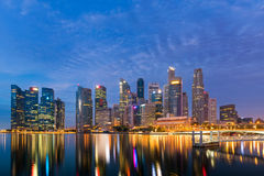 Business downtown in Singapore at twilight, Center of business Stock Photography