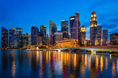 Business downtown and skycrapers tower in Singapore at twilight. Royalty Free Stock Image