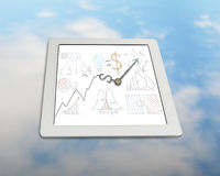 Business drawing with clock hands on tablet Royalty Free Stock Image