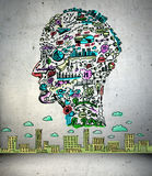 Business drawing in shape of man head. In empty room Royalty Free Stock Photos