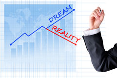 Business dream versus reality concept with bar graph and business man hand Stock Photo