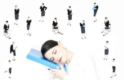 Business dreams. Business woman dreams peaceful sleep stock image