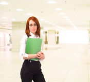Business dressed girl in office Royalty Free Stock Photos