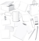 Business Dummies. Blank office dummies for design: paper,card,package,cd,cup,pen,layout,t-shirt-(vector will be additional- without gradients stock illustration