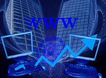 Business, e-commerce and success. This design / image has a blue fractal background. The abstract shape holds two skyscrapers, being symbols for success. The two Stock Photo