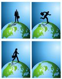 Business Earth Backgrounds. An illustration featuring your choice of 4 backgrounds with a business theme - man standing with briefcase, running, and a