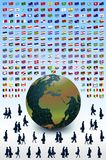 Business Earth, people and flags. Vector Royalty Free Stock Image