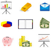 Business and economic icon collection set Royalty Free Stock Images