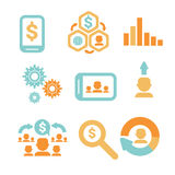 Business Economic Infographics Icons Set Statistic Data Analysis With Copy Space Banner. Flat Vector Illustration Royalty Free Stock Photo