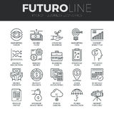 Business Economics Futuro Line Icons Set. Modern thin line icons set of business economic development, financial growth. Premium quality outline symbol Royalty Free Stock Photography