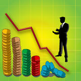 Business economy. Graphline and graphbar of coins, business man silhouette Stock Image