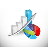 Business economy graph and pie chart concept. Illustration design over white Stock Photography