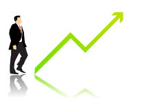 Business economy growing up. Vectored illustration of finance businessman and green arrow going upward because the stock market is going good Royalty Free Stock Photo