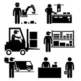 Business Ecosystem Pictogram. A set of pictograms representing the ecosystem between different parties in business. They are manufacturer, distributor Stock Images