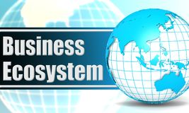 Business ecosystem with sphere globe. 3D rendering Royalty Free Stock Image