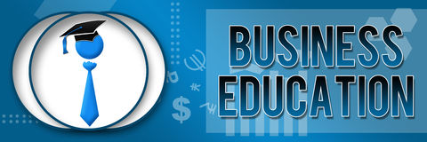 Business Education Business Theme Banner. Business Education text over a themed background and a related symbol stock images