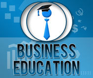 Business Education Business Theme Square. Business Education text over a themed background and a related symbol royalty free illustration