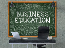 Business Education on Chalkboard with Doodle Icons. 3D Render. Stock Photos