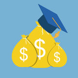 Business Education Concept. Money Bag and Hat in Modern Flat Sty Royalty Free Stock Photos