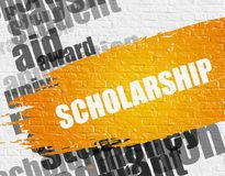 Scholarship on White Wall. Business Education Concept: Scholarship Modern Style Illustration on Yellow Distressed Paintbrush Stripe. Scholarship - on the White royalty free stock images