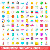100 business education icons set, cartoon style. 100 business education icons set in cartoon style for any design illustration Vector Illustration
