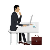 Business Education. Man Works at Computer Laptop. Royalty Free Stock Image