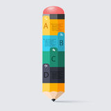 Business education pencil staircase Infographics option. Vector. Illustration. can be used for workflow layout, banner, diagram, number options, step up options Royalty Free Stock Photos