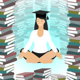 Business education. Woman Caucasian meditating in lotus position. Surrounded by books. Vector Royalty Free Stock Photos