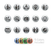 Business Efficiency Icons -- Metal Round Series Royalty Free Stock Image