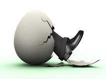 Businessman hatching from egg Stock Images