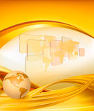 Business elegant gold background with globe Stock Photos