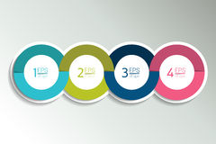 4 business elements banner, template. 4 steps design, chart, infographic, step by step number option, layout. 3D cyrcle style Royalty Free Stock Image