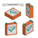 Business elements with 3d check squares, flat design  Royalty Free Stock Photography