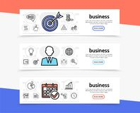 Business Elements Horizontal Banners. With target businessman calendar coins teamwork bulb safe briefcase globe chart clock documents line icons vector Stock Images