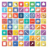Business elements icons in flat design with long shadows. Concept Royalty Free Stock Images