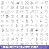 100 business elements icons set, outline style. 100 business elements icons set in outline style for any design illustration stock illustration