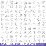 100 business elements icons set, outline style. 100 business elements icons set in outline style for any design vector illustration Royalty Free Stock Image