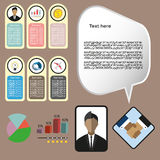 Business elements infographic with icons, charts and money, flat design. Digital vector image Stock Photos