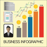 Business elements infographic with icons, charts and money, flat design. Digital vector image Royalty Free Stock Images