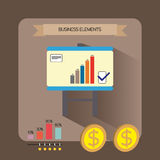 Business elements infographic with icons, charts and money, flat design. Digital vector image Royalty Free Stock Photo
