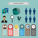 Business elements infographic with icons, charts and money, flat design. Digital vector image Royalty Free Stock Photography